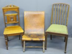 VINTAGE LEATHER SEATED X FRAME CHAIR and two others including an Edwardian hall chair, 75cms H,