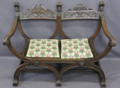 CONTINENTAL STYLE CARVED OAK DOUBLE BENCH with barrel type seat, the twin carved crest rail with