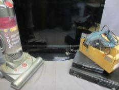 HOUSEHOLD ELECTRIC ITEMS - Toshiba Regza flatscreen tv, Humax Digibox, Panasonic combi player, Black