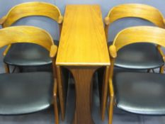 MID-CENTURY TEAK DROP LEAF DINING TABLE & FOUR DESIGNER ELBOW CHAIRS, marked 'K S, made in Denmark'