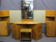 ART DECO STYLE LIGHTWOOD BEDROOM FURNITURE to include a continental style headboard with shaped ends