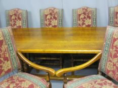 EXCELLENT REPRODUCTION REFECTORY TABLE & SIX (4 + 2) DINING CHAIRS, the 4cm thick top with cleated