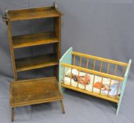 NEAT VINTAGE OAK OPEN BOOKCASE, toy cot and a folding bed tray, 95cms H, 55.5cms W, 18cms D the