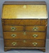 CIRCA 1770 OAK FALL-FRONT BUREAU with interior slide well and architectural style drawers and pigeon
