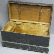 PAINTED PINE CAPTAIN'S CHEST with lift-up lid and interior candle box, 49cms H, 94cms W, 45.5cms D