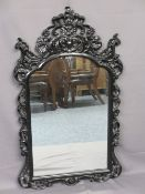 HIGH GLOSS BLACK REPRODUCTION ROCOCO STYLE WALL MIRROR, 135cms H, 78cms W