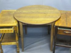 MODERN EXTENDING DINING TABLE & TWO VINTAGE OAK TEA TROLLEYS with end drawers, 74.5cms H, 91cms