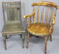 CIRCULAR SEAT FARMHOUSE ARMCHAIR and one other, 89.5cms H, 62cms W, 49cms seat depth the armchair