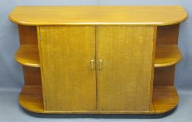 MID-CENTURY TEAK CURVED END SHELF SIDEBOARD with double central cupboard doors, interior drawer