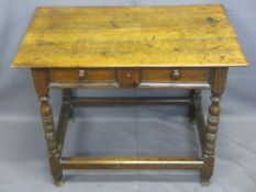 ANTIQUE OAK HALL TABLE, peg joined with well coloured rectangular top over a single elm and oak