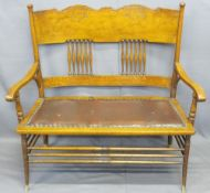 AMERICAN OAK STYLE CURVED BACK BENCH, the wide back rail with carved detail and spindle central