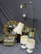 MIXED HOUSEHOLD GOODS BUNDLE to include two gilt framed wall mirrors, two brass standard type lamps,