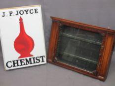 J P JOYCE CHEMIST SIGN and an Edwardian mahogany chemist's wall cabinet with single glazed door