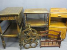 FURNITURE ASSORTMENT including polished tea trolley with single drawer, barley twist occasional