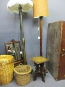 VINTAGE PINE BLANKET BOX, two standard lamps E/T, polished occasional table, vintage mirror and