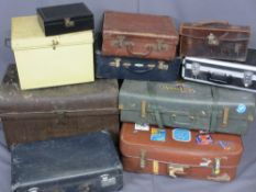 VINTAGE LUGGAGE, TEN ITEMS including a dome top iron and wooden banded trunk, 59cms H, 72.5cms W,