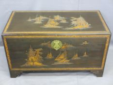 VINTAGE CARVED CHINESE CAMPHORWOOD BLANKET CHEST, 59cms H, 105cms W, 53cms D