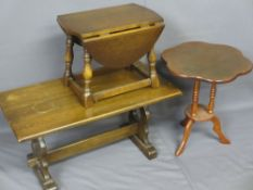 THREE REPRODUCTION OCCASIONAL TABLES including a refectory style rectangular top coffee table, 90cms