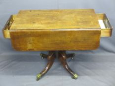 LATE REGENCY MAHOGANY TWIN-FLAP PEDESTAL TABLE with end drawers having turned wooden knobs, turned