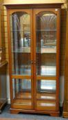 MODERN CHINA CABINET, vertical fan-cut double glazed doors, 95cms wide