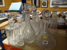 ASSORTED MODERN & CUT GLASS DECANTERS (12)