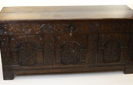 LARGE ANTIQUE JOINED OAK COFFER, PROBABLY WEST COUNTRY, lid with beaded edge, extensively