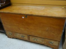 ANTIQUE BOARDED PINE COFFER, with apron drawers, 126 x 51 x 74cms