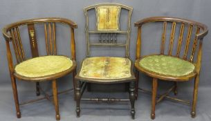 TUB CHAIRS, two similar, one with inlaid garland detail and another similar era salon chair