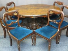ROSEWOOD TILT-TOP BREAKFAST TABLE on central pedestal, 74cms H, 154cms W, 106cms D and six