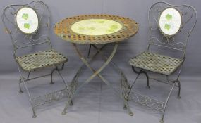 FRENCH STYLE METAL GARDEN FURNITURE comprising circular table and a pair of chairs, 76cms table
