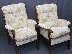 A PAIR OF MODERN LOUNGE ARMCHAIRS by Joynson Holland, 102cms H, 60cms W, 62cms D