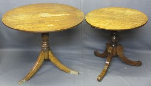 ANTIQUE OAK TILT TOP CIRCULAR TRIPOD TABLES (2), 69cms H, 69cms Diameter, 71cms H, 87cms Diameter