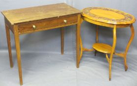 SINGLE DRAWER SIDE TABLE, 76cms H, 84cms W, 49cms D and an oval carved top two tier occasional