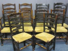TEN RUSH SEATED LADDER BACK CHAIRS - a set of eight with shaped backs (6 + 2) plus another two