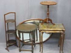 TRIPOD WINE TABLE, circular occasional table with pie crust edge, nest of two tables, an oval