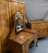 BURR WALNUT CROSSBANDED BEDROOM SUITE comprising triple wardrobe, 211cms H, 160cms W, 62cms D,