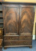 CIRCA 1900 PRESS CUPBOARD, two doors above two long drawers with shelved interior and dentil