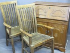 TEAK ELBOW CHAIRS (GARDEN ?) with high backs and a modern polished bureau with carved detail