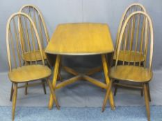 ERCOL MEDIUM ELM DROP-LEAF DINING TABLE & FOUR HIGH HOOP STICK BACK CHAIRS, 71cms H, 112cms W, 66cms