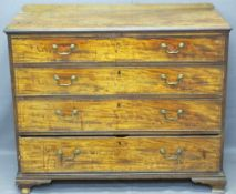MAHOGANY CHEST OF FOUR LONG DRAWERS with swan neck handles, on bracket feet, 90cms H, 110cms W,