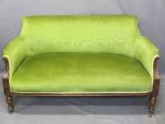 SALON SOFA - two seater, a fine example on turned supports in green draylon, 75cms H, 136cms W,
