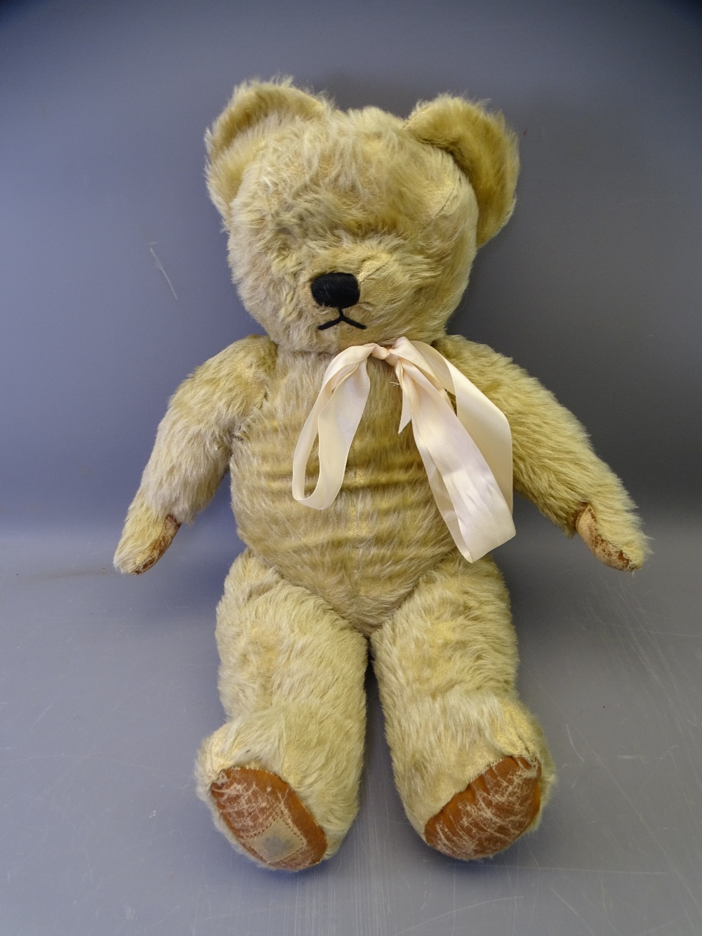 CHAD VALLEY MOHAIR TEDDY BEAR, play worn condition with label to the foot 'By Appointment to HM