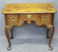 CIRCA 1830 MAHOGANY LOWBOY, rectangular top over an arrangement of three drawers with decorative