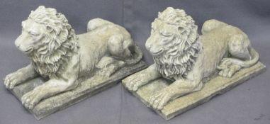 STONEWARE LIONS, A PAIR, on plinths, 30cms H, 42cms W, 22cms D