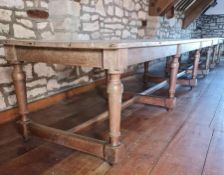 CIRCA 18TH CENTURY & LATER 20FT LONG REFECTORY TABLE on turned supports with cross stretchers, 71cms