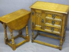 HUTCH CUPBOARD with three side drawers, 68cms H, 59cms W, 32cms D and single cupboard door and a