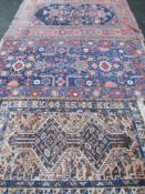 RUGS - three Eastern, various designs, 210 x 160cms, 207 x 112cms and 150 x 100cms