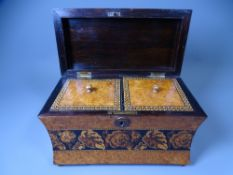 WAISTED FORM TUNBRIDGE WARE TEA CADDY, satinwood and burr walnut with Rosewood interior, twin-lidded