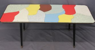 RETRO LONG-JOHN COFFEE TABLE with multicoloured top, 49cms H, 122cms W, 46cms D