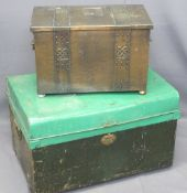 'ARTS & CRAFTS' STYLE COPPER COAL BOX, 35cms H, 54cms W, 31cms D and a metal trunk